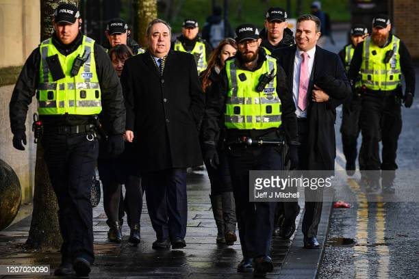 Former Scottish first minister Alex Salmond arrives at the High Court for a preliminary hearing on sexual assault charges on February 18 2020 in...
