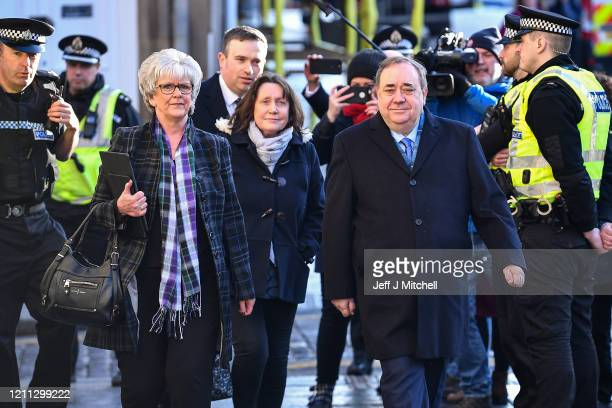 Former Scottish First Minister Alex Salmond arrives at the High Court where he is standing trial on sex offence charges at Edinburgh High Court on...