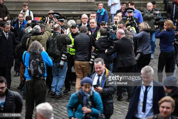 Former Scottish first minister Alex Salmond departs the High Court following a preliminary hearing on sexual assault charges on January 22, 2020 in...