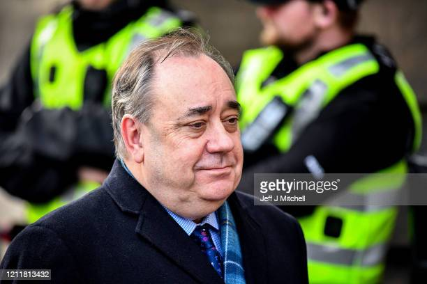 Former Scottish First Minister Alex Salmond departs the High Court where he is standing trial on sex offence charges at Edinburgh High Court on March...