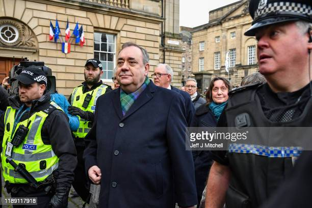 Former Scottish first minister Alex Salmond leaves the High Court after a preliminary hearing on sexual assault charges on November 21 2019 in...