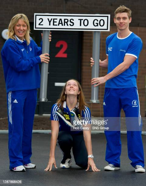 Former Scottish hockey player Rhona Simpson, Scottish long-jumper Jade Nimmo and swimmer Ross Muir are shown around the site of the Athletes' Village...