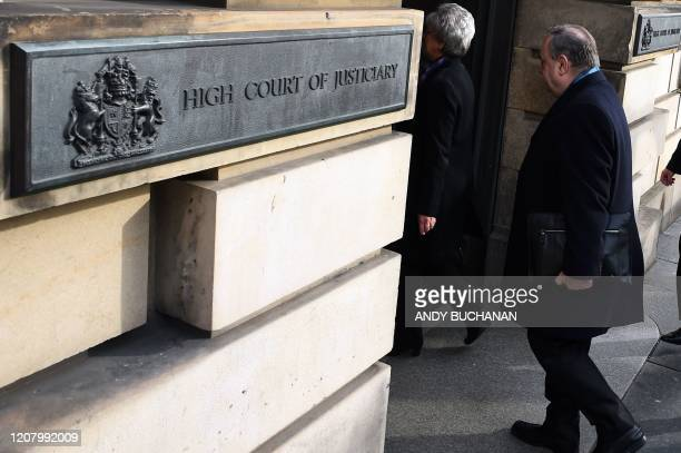 Former Scottish National Party leader and former First Minister of Scotland Alex Salmond arrives at the High Court in Edinburgh on March 23 during...