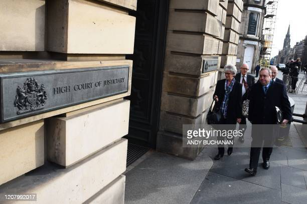 Former Scottish National Party leader and former First Minister of Scotland, Alex Salmond , arrives at the High Court in Edinburgh on March 23 during...
