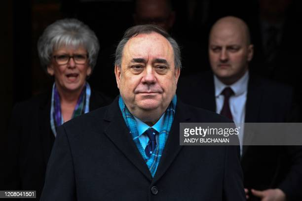 Former Scottish National Party leader and former First Minister of Scotland, Alex Salmond leaves the High Court in Edinburgh on March 23 after being...