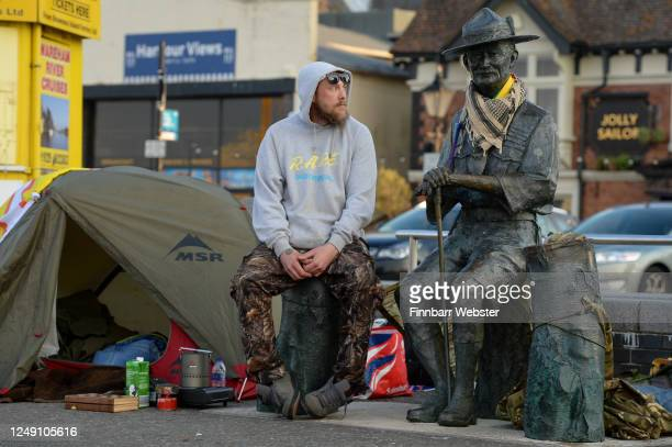 Former Scout Dan Davies at his tent set up to protect the Lord BadenPowell statue on June 12 2020 in Poole United Kingdom The statue of Robert...