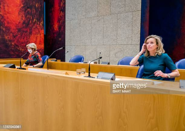 Former scouts Annemarie Jorritsma and Kajsa Ollongren are seen in the Lower House of the House of representatives, on March 31 2021 in The Hague,...