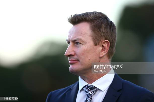Former Sea Eagles player Steven Menzies looks on before the round eight NRL match between the Manly Warringah Sea Eagles and the Canterbury Bulldogs...