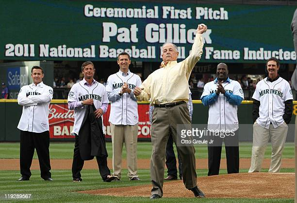 Former Seattle Mariners general manager Pat Gillick throws out the ceremonial first pitch prior to the game against the Texas Rangers at Safeco Field...