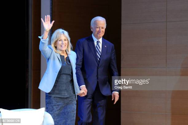 Former Second Lady of the United States Dr Jill Biden and Former Vice President of the United States Joe Biden speak onstage during Glamour...