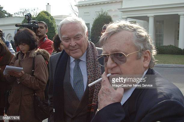 Former Secretaries of State Lawrence Eagleberger and Alexander Haig chat outside the West Wing after being called to meet with President Bush and...