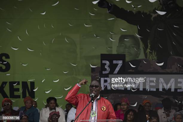 Former Secretary General of Congress of South African Trade Unions Zwelinzima Vavi gives a speech during an organization marking the 4th anniversary...