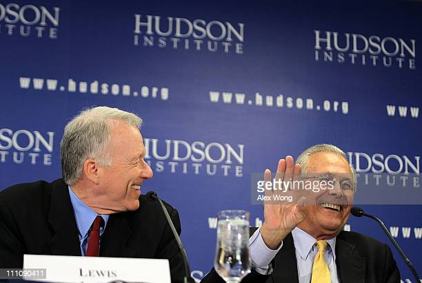 Former Secretary of Defense Donald Rumsfeld and Lewis Scooter Libby senior vice president of the Hudson Institute and former chief of Staff of former...