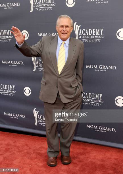 Former Secretary of Defense Donald Rumsfeld arrives at the 46th Annual Academy Of Country Music Awards RAM Red Carpet held at the MGM Grand Garden...