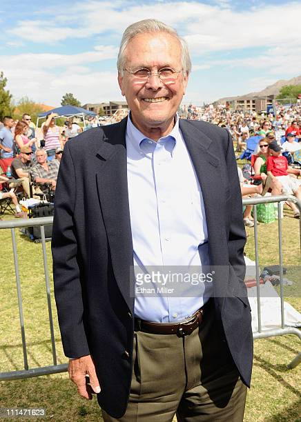Former Secretary of Defense Donald Rumsfeld attends the 2nd Annual Academy of Country Music USO Concert at Nellis Air Force Base on April 2 2011 in...