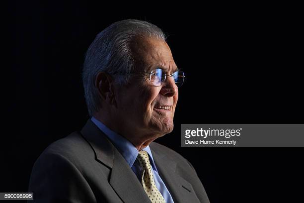 Former Secretary of Defense Donald Rumsfeld being interviewed for Discovery Channel's documentary The Presidents' Gatekeepers about the White House...