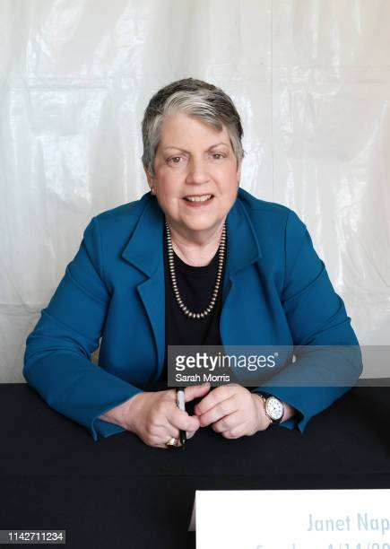 Former Secretary of Homeland Security Janet Napolitano attends the 2019 Los Angeles Times Festival of Books at USC on April 14 2019 in Los Angeles...