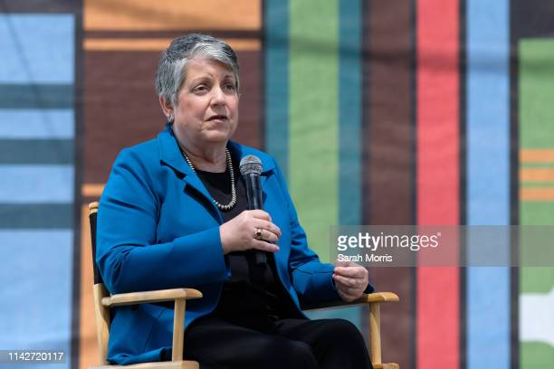 Former Secretary of Homeland Security Janet Napolitano speaks at the 2019 Los Angeles Times Festival of Books at USC on April 14 2019 in Los Angeles...