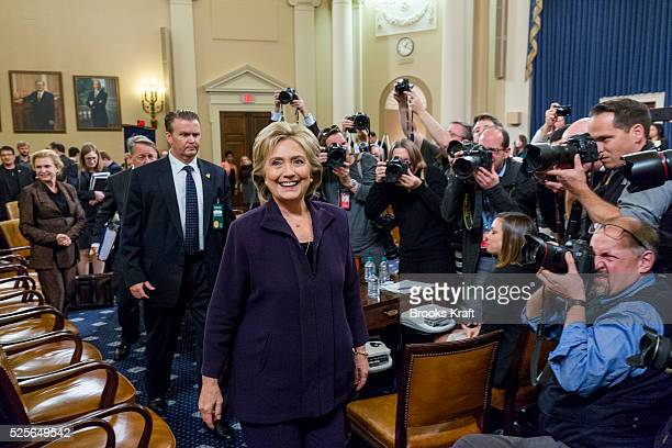 Former Secretary of State and Democratic presidential candidate Hillary Clinton leaves during a break after testifying before the House Select...