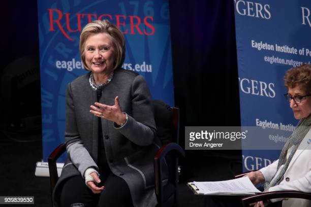 Former Secretary of State and former First Lady Hillary Clinton speaks at Rutgers University, March 29, 2018 in Piscataway, New Jersey. Clinton is...