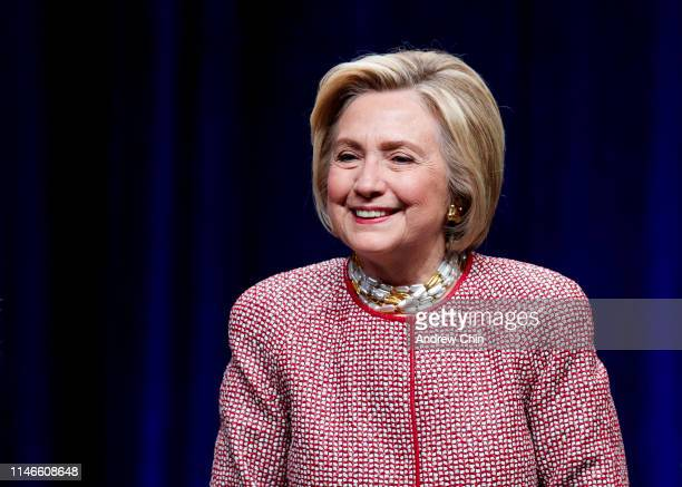 Former Secretary of State and presidential candidate Hillary Clinton on stage during An Evening with President Bill Clinton and former Secretary of...