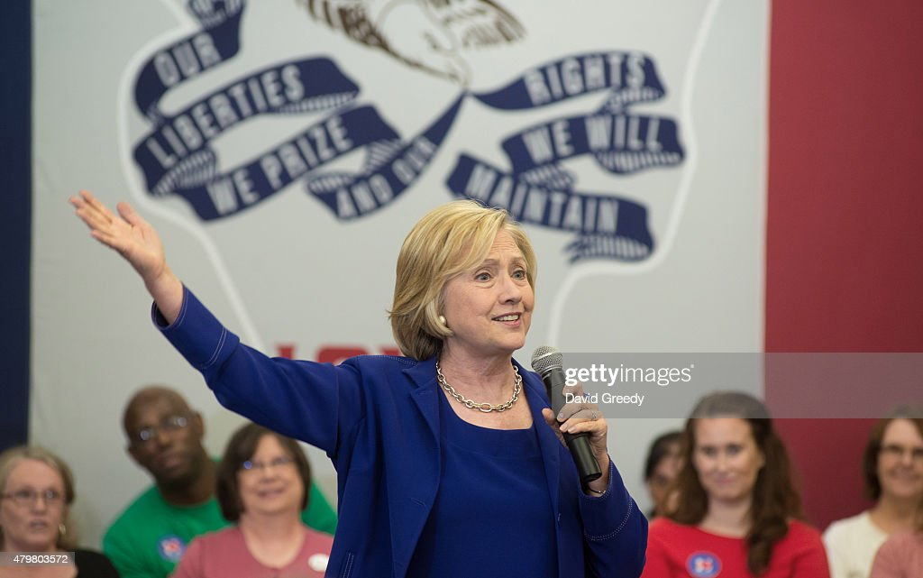 Former Secretary of State and presidential candidate Hillary Clinton addresses supporters at an organizational rally on July 7, 2015 at the Iowa City Public Library in Iowa City, Iowa. The campaign stop provided a few hundred supporters and campaing workers with an oppurtunity to hear from the former Sectratary of State about her platform for her run the office of President of the United States.