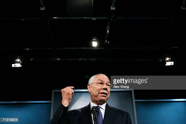 Former Secretary of State Colin Powell speaks as he announces the lead gift of $10 million for the building of the Vietnam Veterans Memorial Center...