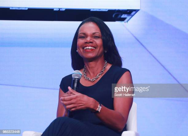 Former Secretary of State Condoleezza Rice speaks on stage during the KPMG Women's Leadership Summit prior to the start of the KPMG Women's PGA...