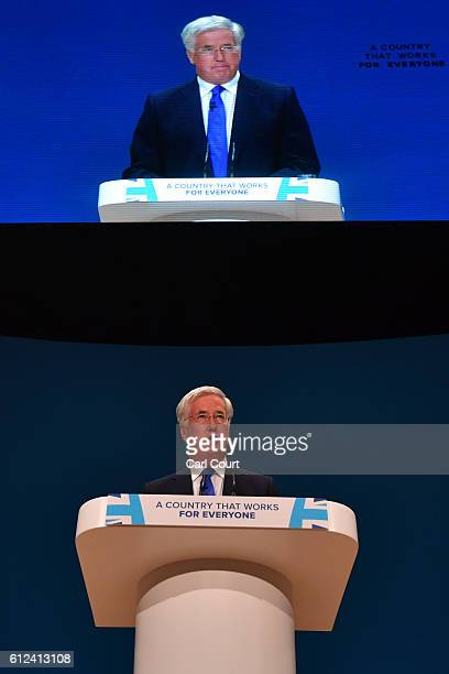 Former Secretary of State for Communities and Local Government Eric Pickles delivers a speech on the third day of the Conservative Party Conference...