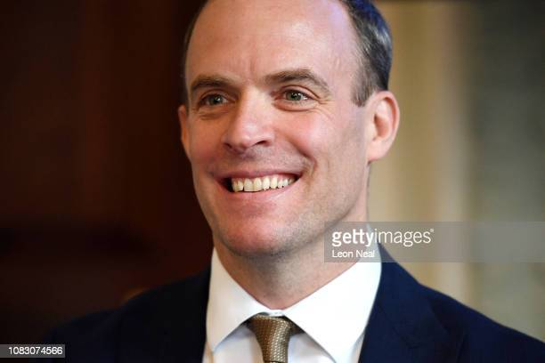 Former Secretary of State for Exiting the European Union Dominic Raab speaks to the media during a press conference to offer an alternative Brexit...