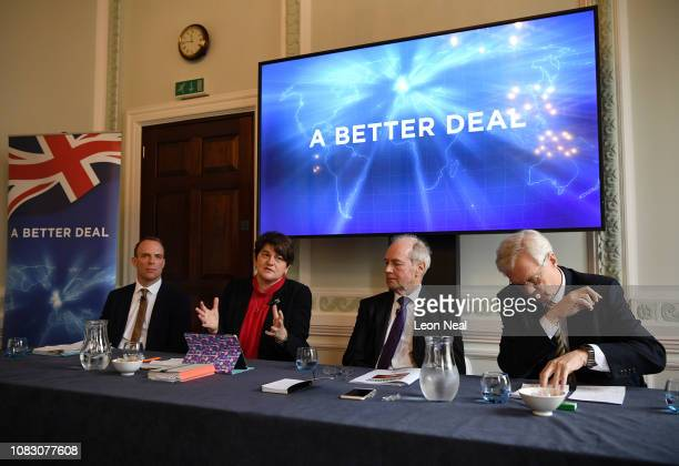 Former Secretary of State for Exiting the European Union Dominic Raab Leader of the Democratic Unionist Party Arlene Foster Conservative Peer Lord...
