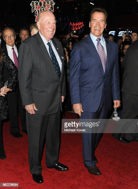 """Former Secretary of State George P. Shultz and Governor Arnold Schwarzenegger arrive at the Los Angeles Premiere of the documentary """"Nuclear Tipping..."""