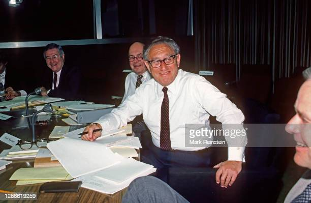 Former Secretary of State Henry Kissinger, right, chairman of President Reagan's Bipartisan Commission on Central America, and its executive...