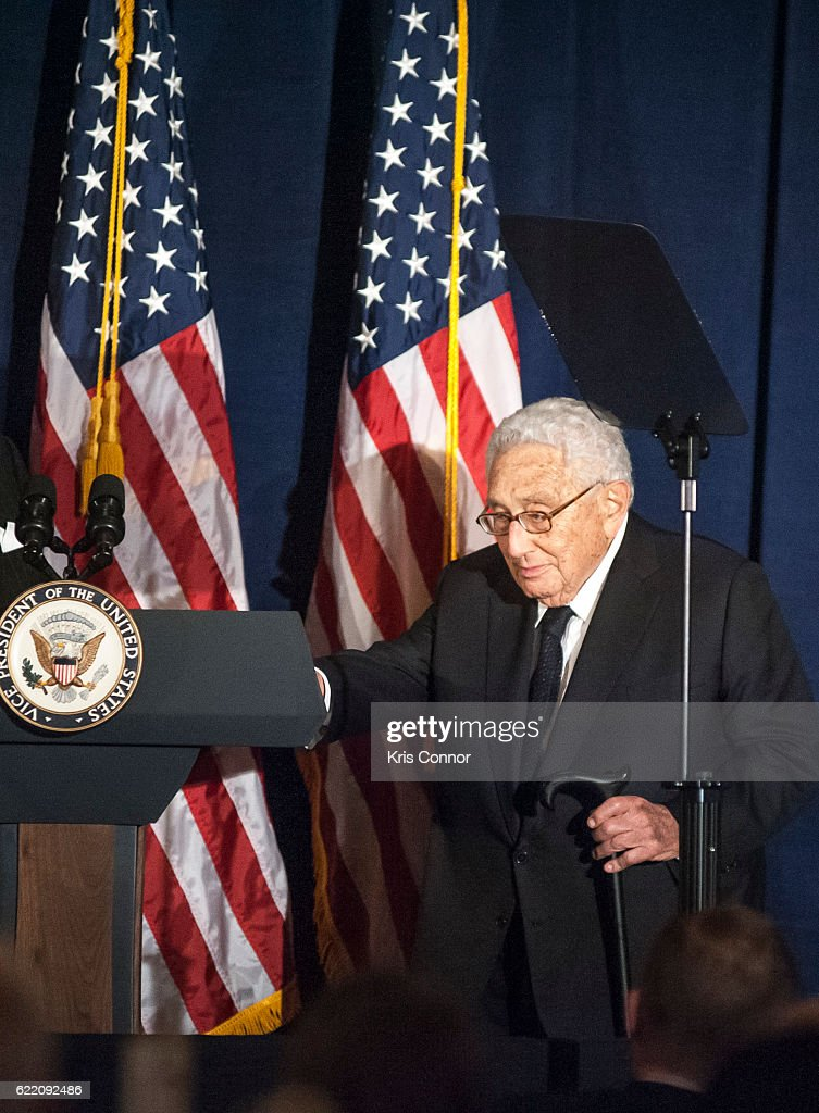 Former Secretary of State Henry Kissinger speaks during the 2016 World Jewish Congress Herzl Award Dinner at The Pierre Hotel on November 9, 2016 in New York City.