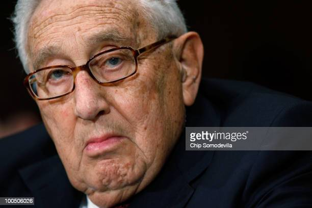 Former secretary of state Henry Kissinger testifies before the Senate Foreign Relations Committee about the new Strategic Arms Treat between Russia...