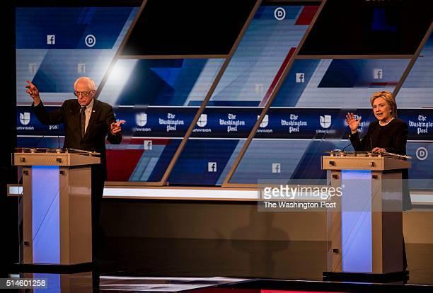 MIAMI FL Former Secretary of State Hillary Clinton and Senator Bernie Sanders participate in the Univision News and Washington Post Democratic...