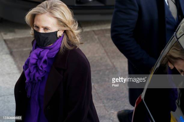 Former Secretary of State Hillary Clinton arrives at the U.S. Capitol ahead of the inauguration of President Joe Biden on January 20, 2021 in...