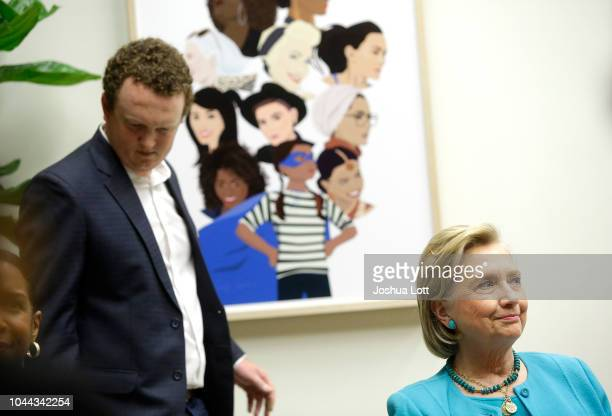 Former Secretary of State Hillary Clinton attends a round table discussion with high school students at a creative workspace for women on October 1...