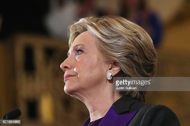 Former Secretary of State Hillary Clinton concedes the presidential election at the New Yorker Hotel on November 9 2016 in New York City Republican...