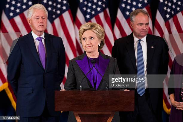 Former Secretary of State Hillary Clinton concedes the presidential election as her husband former U.S. President Bill Clinton and her running mate...