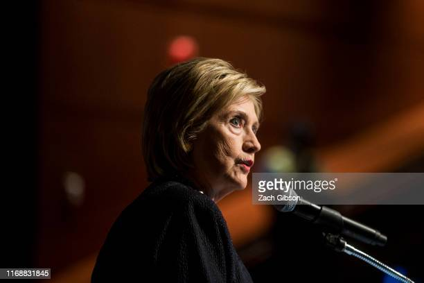 Former Secretary of State Hillary Clinton delivers a keynote speech during the American Federation of Teachers Shanker Institute Defense of Democracy...