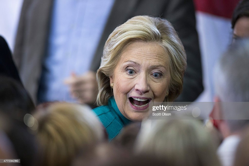 Former Secretary of State Hillary Clinton greets supporters during a campaign event at the the Elwell Family food Center at the Iowa State Fairgrounds on June 14, 2015 in Des Moines, Iowa. Clinton officially kicked off her 2016 bid for the White House yesterday during an event on New Yorks Roosevelt Island.