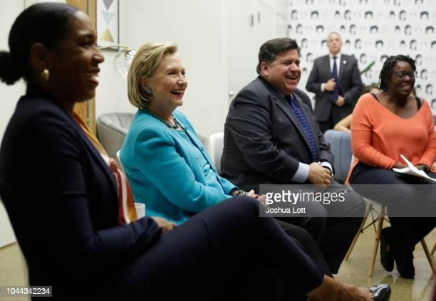Former Secretary of State Hillary Clinton Illinois gubernatorial candidate JB Pritzker and Pritzker's Lieutenant Governor pick Juliana Stratton speak...