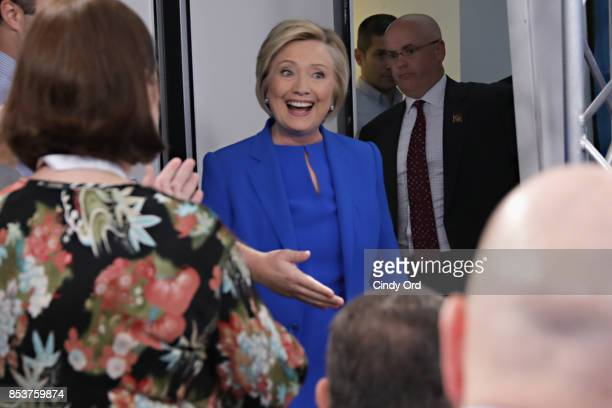 Former Secretary of State Hillary Clinton joins SiriusXM for a town hall event hosted by Zerlina Maxwell at SiriusXM Studios on September 25 2017 in...