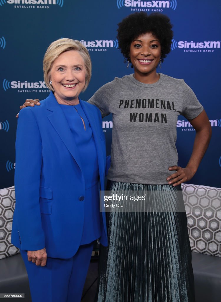 Former Secretary of State Hillary Clinton joins SiriusXM for a town hall event hosted by Zerlina Maxwell at SiriusXM Studios on September 25, 2017 in New York City.