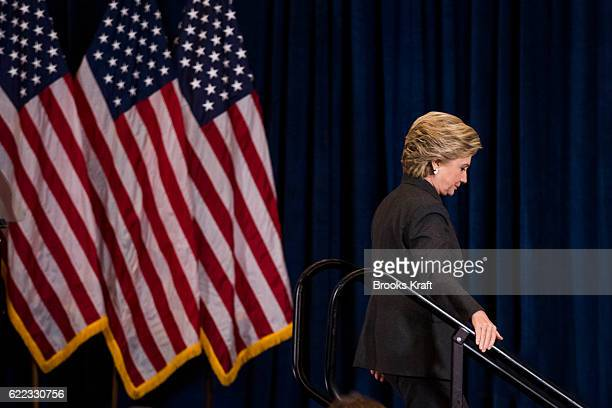 Former Secretary of State Hillary Clinton leaves after conceding the presidential election on November 9 2016 in New York City Republican candidate...