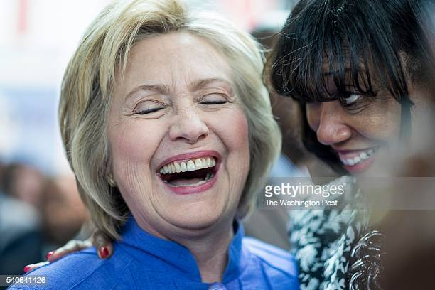 Former Secretary of State Hillary Clinton meets supporters after participating in a National Security conversation at the Virginia Air and Space...