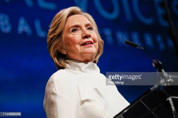 Former Secretary of State Hillary Clinton speaks at the 18th annual Vital Voices Global Leadership Awards at The Kennedy Center on April 24 2019 in...