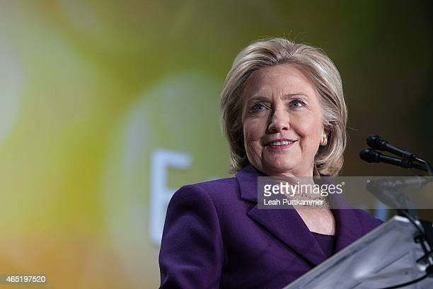 S Former Secretary of State Hillary Clinton speaks at the EMILY's List 30th Anniversary Gala at Hilton Washington Hotel on March 3 2015 in Washington...