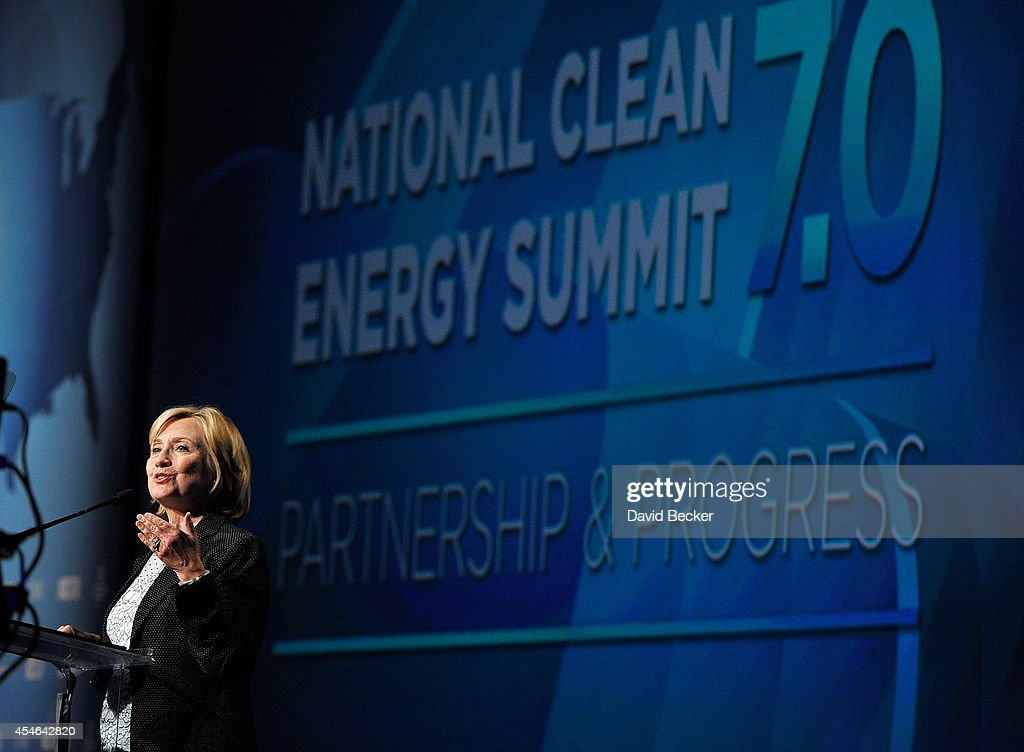 Former Secretary of State Hillary Clinton speaks at the National Clean Energy Summit 7.0 at the Mandalay Bay Convention Center on September 4, 2014 in Las Vegas, Nevada.